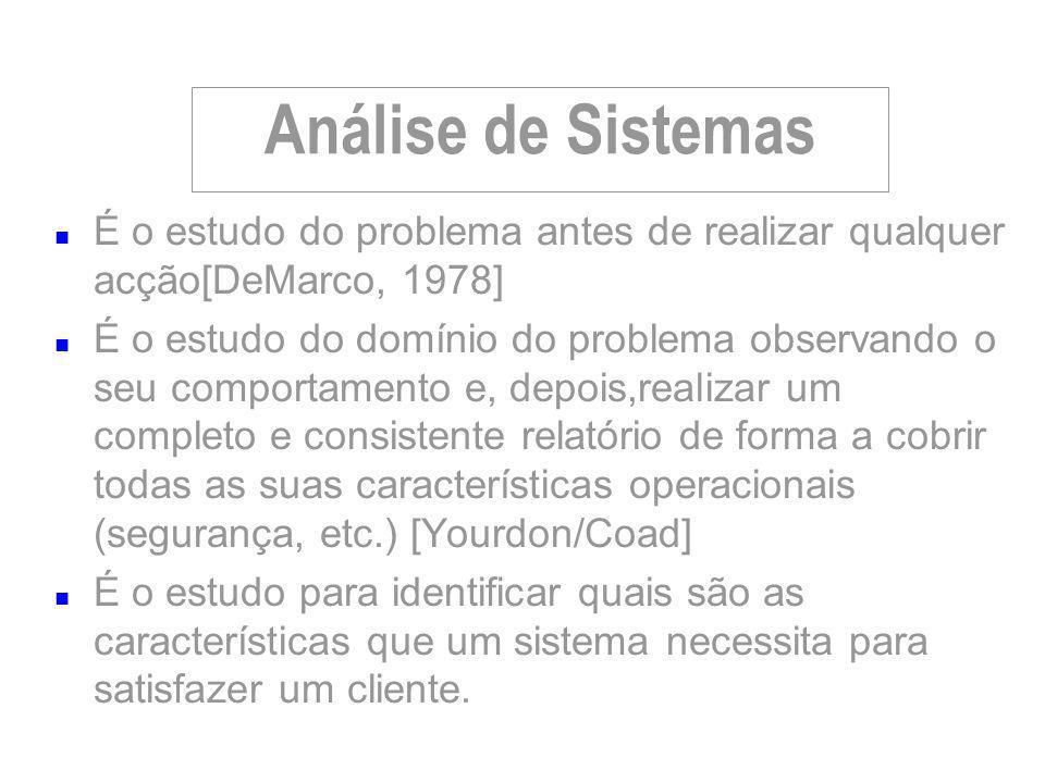 Análise de Sistemas É o estudo do problema antes de realizar qualquer acção[DeMarco, 1978]
